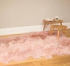 large sheepskin rug dusky pink tibetan