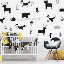 32pcs Set Scandinavian Style Various Animals Plant Motifs Cute Decals For Kids Room Baby Nursery Removable Art Murals Jw235 Animal Decal Kids Room Decallsfor Kids Aliexpress