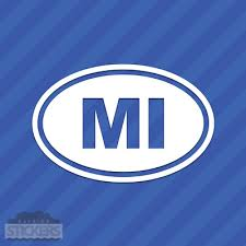 Michigan Native Stickers Car Decal Color Blue Black 3x7 Inches