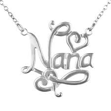 nana pendant in sterling silver on an