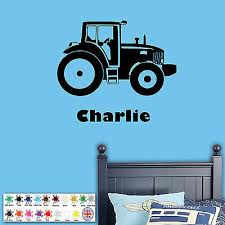 Tractor Wall Sticker Personalised Name Boys Bedroom Art Decal Vinyl Farm Ebay