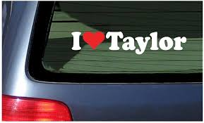 Amazon Com I Love Taylor Vinyl Decal White With A Red Heart Sticker Automotive