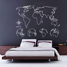 Map Of The World Globe Wall Art Self Adhesive Vinyl Sticker V1