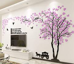 Amazon Com Fgdsa 3d Tree Wall Sticker Acrylic Forest Wall Stickers Art Wall Decals Living Room Tv Background Wall Decal Decoration Deco F 382x200cm 150x79inch Home Kitchen