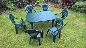 garden table green plastic patio table