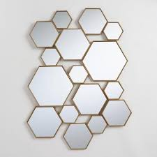 brass metal hexagon mirror panel with