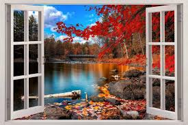 Autumn Lakeside 3d Window View Decal Wall Sticker Decor Art Mural Scenery Nature For Sale Online