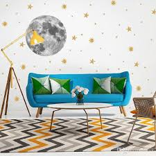 Moon And Gold Stars Wall Sticker For Kids Rooms Bedroom Background Decorations Wallpaper Mural Art Decals Stickers Vinyl Wall Art Stickers Vinyl Wall Clings From Lotlot 2 87 Dhgate Com