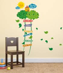 Nursery Kids Room Green Ladder Tree Growth Height Chart Sticker 90 To 140 Cm Measurement Wall Stickers Wall Decals Decalsdesignindia