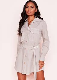 Polly Stone Utility Belted Shirt Dress Missy Empire