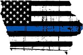 Amazon Com Iowa Tattered Thin Blue Line Us Flag Honoring Our Men Women Of Law Enforcement Car Symbol Sticker Decal Die Cut Vinyl Window Computer Made And Shipped In Usa Automotive