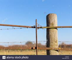 Rusty Barbed Wire Old Rough Rusted Metal Posts Security Fence Stock Photo Alamy