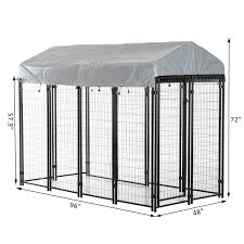 Shop Pawhut 97 X 46 X 72 Large Outdoor Dog Kennel Galvanized Steel Fence With Uv Resistant Oxford Cloth Roof And Lock Overstock 18019860