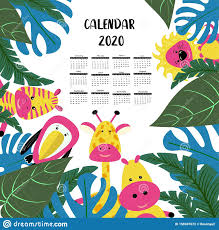 Calendar 2020 Children Tropical Style With Funny Cute Animals Zebra Giraffe And Hippo Characters Poster For The Kids Room Stock Vector Illustration Of Giraffe Kids 158407672