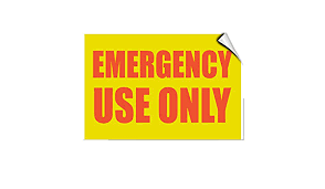 Amazon Com Emergency Use Only Hazard Emergency Label Decal Sticker Sticks To Any Surface Office Products