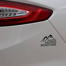 2pcs 14 5cm 10 2cm Faith Moves Mountains Car Sticker Vinyl Decal Jesus God Christian Holy Bible White Black Red Silver Size 6 6 Wish