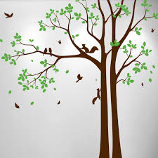 Aspen Tree Decal With Leaves Birds And Squirrels 1472 Innovativestencils