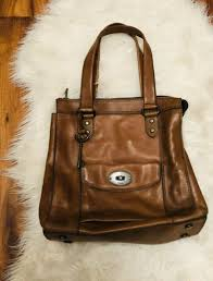 fossil fiona tote large brown leather