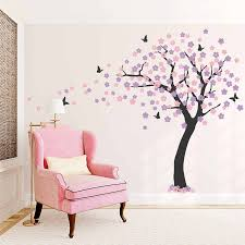 Large Cherry Blossom Tree Wall Sticker Butterfly Wall Decal Vinyl Art Decals Living Room Bedroom Decor Wallpaper Mural Hot Lc236 Sticker Butterfly Wall Stickers Butterflybutterfly Wall Decals Aliexpress