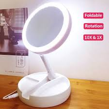 led lights stand hand cosmetic mirror