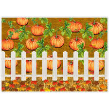 Allenjoy 7x5ft Fall Pumpkin Patch Backdrops Watercolor White Fence Autumn Great Halloween Farmland For Newborn Children Birthday Background Photography Decorations Photobooth Banner Photo Studio Props
