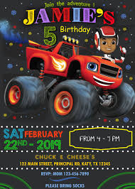 Blaze And The Monster Machines 2 Birthday Invitation Cumpleanos