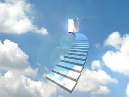 青空のドアに向かってカーブした階段[10361000010]の写真素材 ...