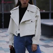 white oversized faux leather jacket