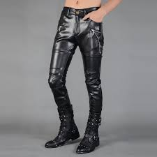 faux leather pants men casual trousers