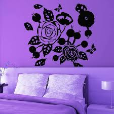 Shop Rose Butterfly Flowering Blossom Stickers Vinyl Sticker Art Mural Bedroom Kids Room Decor Sticker Decal Size 33x33 Color Black Overstock 14758016
