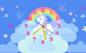 rainbow unicorn clouds clock