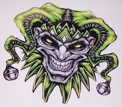 Green Evil Clown Jester Skull Full Color Tailgate Graphic Window Decal