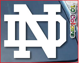 Amazon Com University Of Notre Dame Nd Car Window Vinyl Decal Sticker 4 Wide Color White Everything Else
