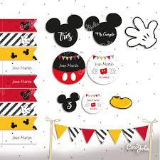Kit Imprimible Mickey Mouse Negro Blanco Rojo Y Amarillo