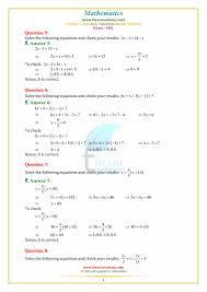 class 8 maths solution linear equation