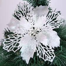large poinsettia glitter flowers white