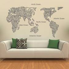 World Map Wall Decal Home Decor World Map Wall Sticker Wall Decor Ellaseal