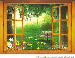 Beautiful View Out Of Window Painting The Beautiful Views Out Of The Window Fon Wall Decal Vinyl Sticker Wall Stickers Home Decor Fake Window Garden Wall Art