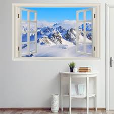 Vwaq Snow Wall Decor Sticker 3d Window Decal Snowy Mountain Etsy