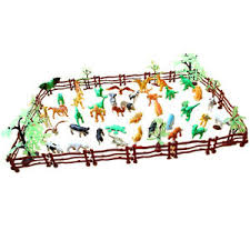 68pcs Set Farm Zoo Wild Jungle Animal Figure Model In Fence Toy Collectibles Ebay