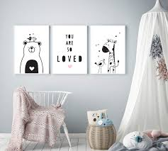 Modern Nursery Art By Mila Lou Set Of 3 Framed 10x12 Cute Animals Kids Room Wall Decor Pink Accents Amazon In Baby