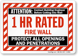 attention 1 hr rated fire wall protect