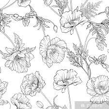 Sticker Naadloze Patroon Met Poppy Bloemen In Botanische Vintage