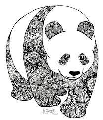 Zentangle Panda Coloring Book Panda Art Zentangle Animals