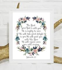 The Lord Your God Is With You Bible Verse Wall Art Zephaniah Etsy