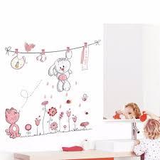 Hot Pink Cartoon Cat Rabbit Flower Wall Sticker For Baby Girls Kids Rooms Home Decor Teddy Bear Umbrella Classroom Wall Decals Wall Stickers Aliexpress