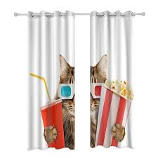 Cola Popcorn Cats Animal Curtains Opaque Kids Room Window Treatments
