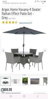 argos rattan grey garden table and