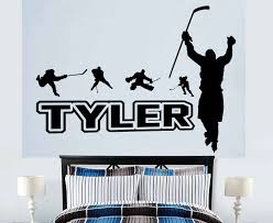 Customizable Name Ice Hockey Pattern Vinyl Wall Decal Boy Girl Child Teen Room Home Decor Wallpaper Art Mural Dz05 Wall Stickers Aliexpress