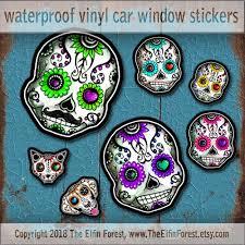 Sugar Skull Family Car Window Decal Sticker Set Vinyl Day Of Etsy Car Window Decals Sugar Skull Sugar Skull Design